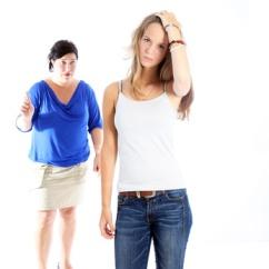 Mother admonishing her daughter