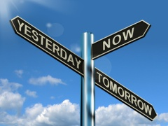 Yesterday Now Tomorrow Signpost Showing Schedule Diary Or Plan